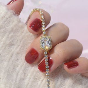 NEW 14K Yellow Gold Plated Diamond Halo Bracelet